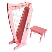 Schoenhut 15-String Harp with Bench - Pink