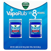 Vicks VapoRub Cough Suppressant Topical Analgesic Ointment, 2 pk./3.53 oz.