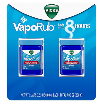 Vicks VapoRub Cough Suppressant Topical Analgesic Ointment, 2 pk./3.53