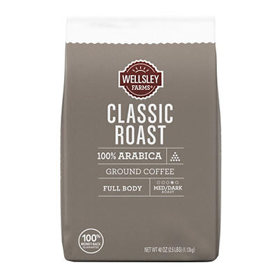 Wellsley Farms Classic Roast Ground Coffee, 40 oz.