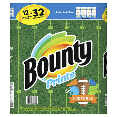 Bounty Select-A-Size Football Print Paper Towels, 12 pk.