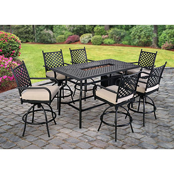 Berkley Jensen Westland 8-Pc. High Dining Set with Fire Table
