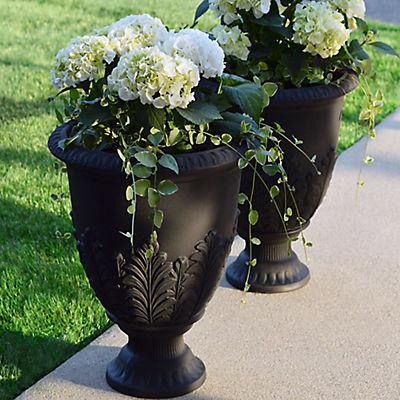 "Garden by Artech Newbury Resin 17"" Urn, 2 pk.- Black"