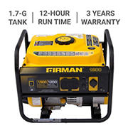 Firman P01202 Gas-Powered Generator, 1,500 Peak Watts, 1,200 Running Watts