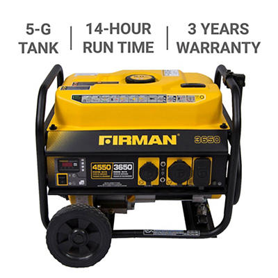 Firman 4,550W Peak/3,650W Rated Gas-Powered Portable Generator