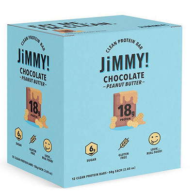 JiMMY! Chocolate Peanut Butter Clean Protein Bars, 12 pt./2.05 oz.