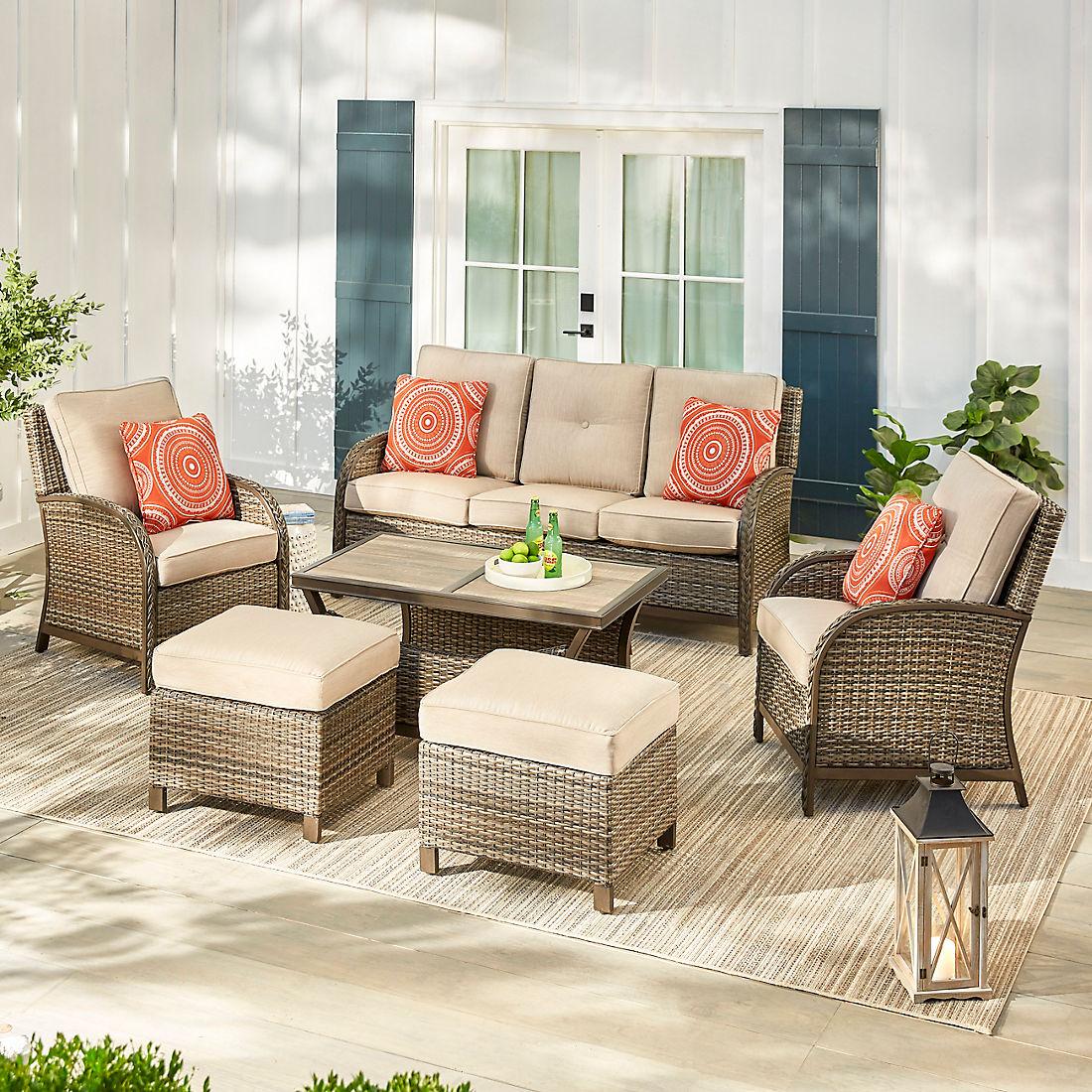 Awesome Berkley Jensen Casco Bay 6 Pc Deep Seating Set Brown Theyellowbook Wood Chair Design Ideas Theyellowbookinfo