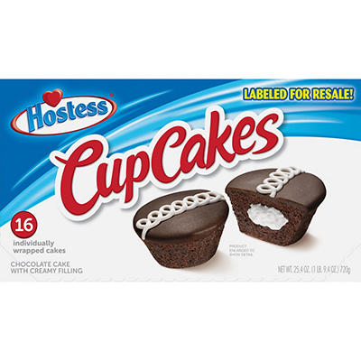 Hostess Individually Wrapped Chocolate Cupcakes with Cream Filling, 16