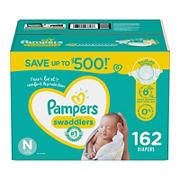 Pampers Swaddlers Diapers, Size N, 162 ct.