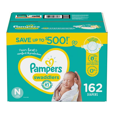 Pampers Swaddlers Blankie Soft Diapers, Size N, 162 ct.