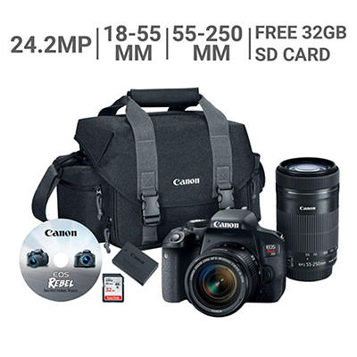 Canon EOS Rebel T7i 24.2MP CMOS DSLR Bundle with 18-55mm and 55-250mm