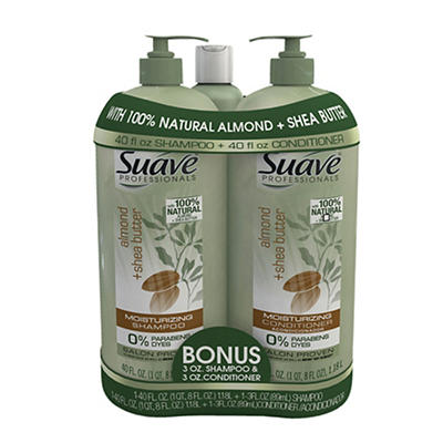 Suave Professionals Almond and Shea Shampoo and Conditioner, 2 pk./40