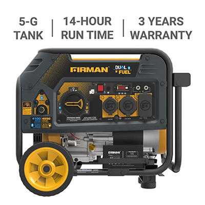 Firman  4,550W Peak/3,650W Rated Dual-Fuel Electric Start Portable Gen