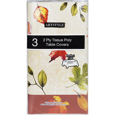 Artstyle Fall Mix Waterproof Rectangle Table Cover, 3 pk.