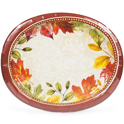 Artstyle Fall Damask Oval Paper Plates, 35 ct.