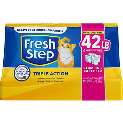 Fresh Step Triple Action Scented Scoopable Cat Litter, 42 lbs.