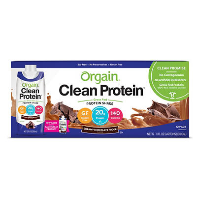 Orgain Clean Protein Grass Fed Chocolate Protein Shake, 12 pk./11 oz.
