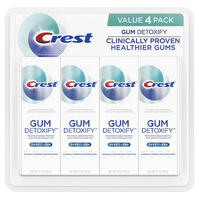 Crest Gum Detoxify Deep Clean Fluoride Toothpaste, 4 ct./4.1 oz.