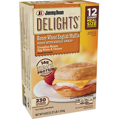 Jimmy Dean Delights Canadian Bacon, Egg White and Cheese Sandwich, 12