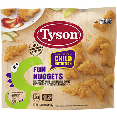 Tyson Fully Cooked Frozen Fun Nuggets with Whole Grain Breading, 5 lbs