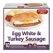 Sandwich Bros. Egg White and Turkey Sausage Flatbread Pocket Sandwiches, 10 ct.