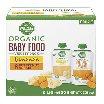 Wellsley Farms Organic Baby Food Variety Pack, 12 ct./3.5 oz.