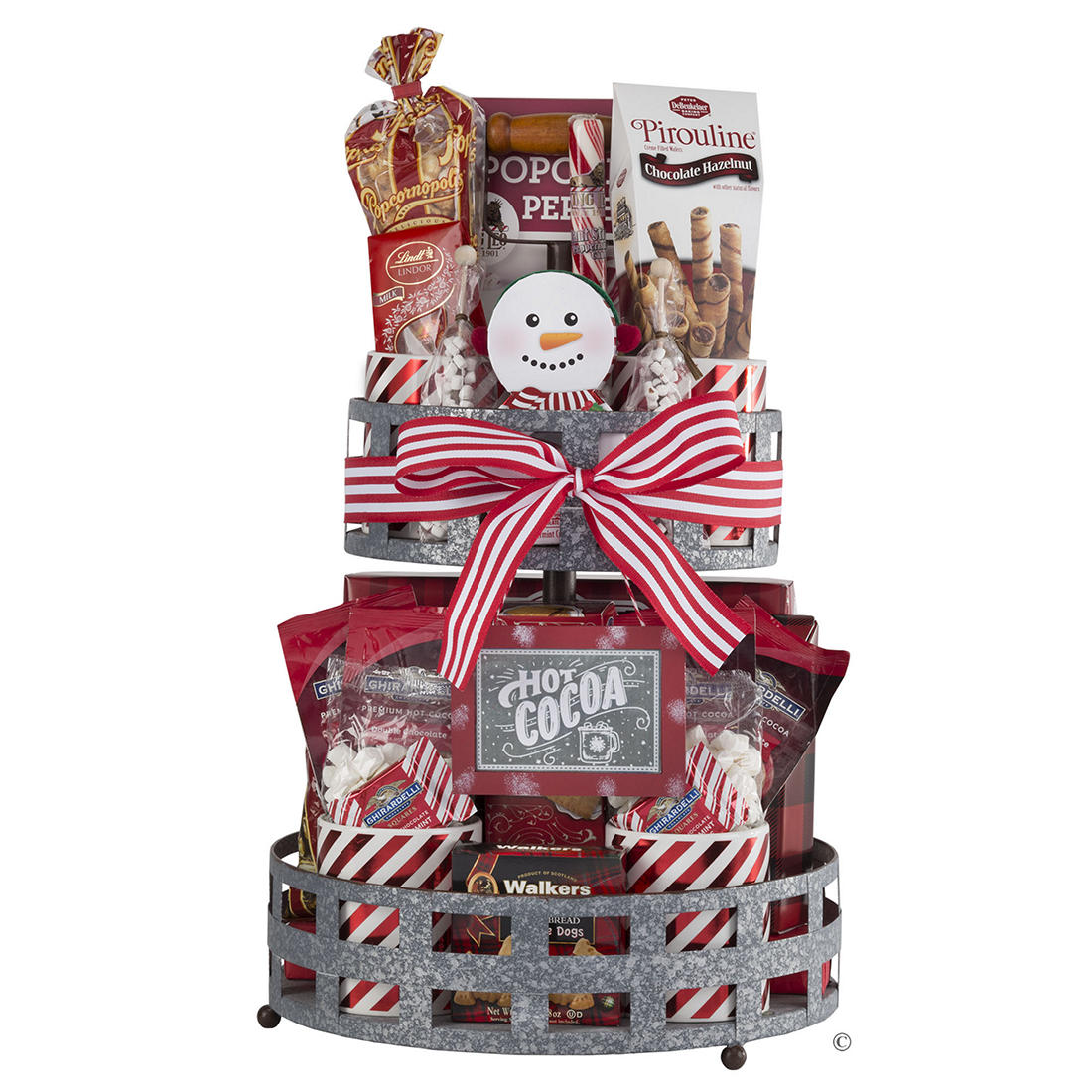 Classic Ghirardelli Gift Basket-Chocolate Holiday Christmas Present Metal Basket