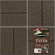 "Rubberific Dual Sided 16"" x 16"" Rubber Pavers, 6 pk. - Brown"