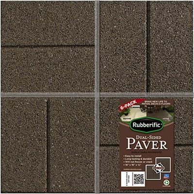 "Rubberific Dual Sided 16' x 16"" Rubber Pavers, 6 pk. - Brown"