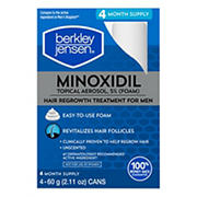 Berkley Jensen Minoxidil Foam Topical Aerosol Hair Regrowth Treatment for Men, 4 pk.