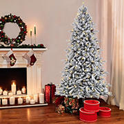 Puleo International 7.5' Pre-Lit Flocked Birmingham Fir Tree