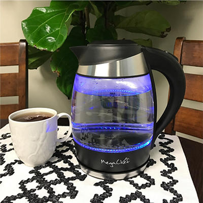 MegaChef 1.8L Glass Stainless Steel Electric Tea Kettle