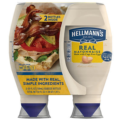 Hellmann's Real Mayonnaise Squeeze Size, 2 pk./25 oz.