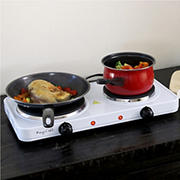 MegaChef Electric Easily Portable Ultra Lightweight Dual Burner Cooktop Buffet Range - Sleek White