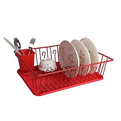 "MegaChef 17.5"" Red Dish Rack"