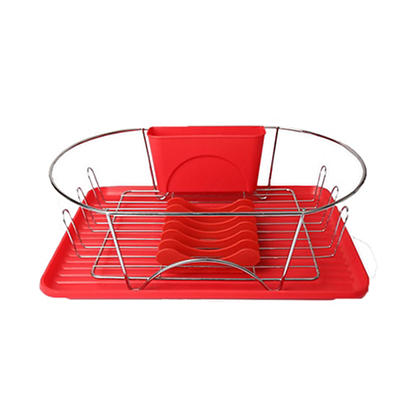 """MegaChef 17"""" Dish Rack - Red and Silver"""