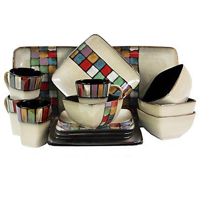 Elama Color Melange 16-Pc. Dinnerware Set