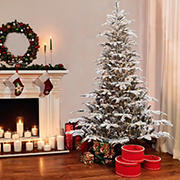 Puleo International 7.5' Pre-Lit Arctic Fir Flocked Christmas Tree.