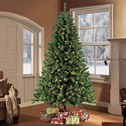 Puleo International 7.5' Pre-Lit Noble Fir Christmas Tree