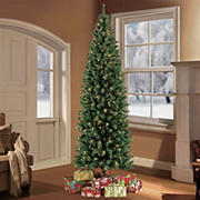 Puleo International 7.5' Pre-Lit Noble Fir Artificial Pencil Christmas Tree
