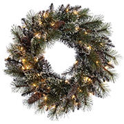 "Puleo International 24"" Lighted Decorated Wreath"