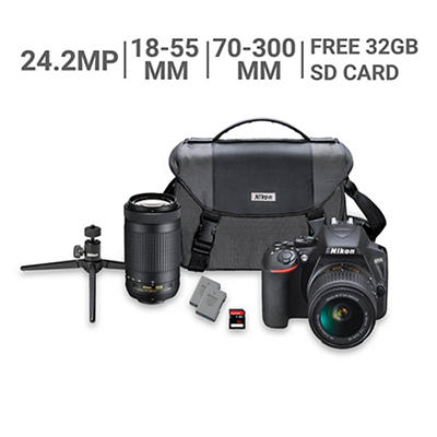 Nikon D3500 24.2MP CMOS DSLR Camera Bundle with 18-55mm VR and 70-300m