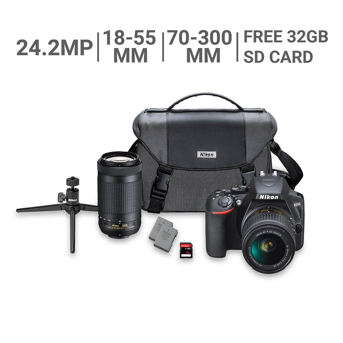 Nikon D3500 24 2MP CMOS DSLR Camera Bundle with 18-55mm VR and 70-300mm  Lenses, 32GB SD Card, Bag
