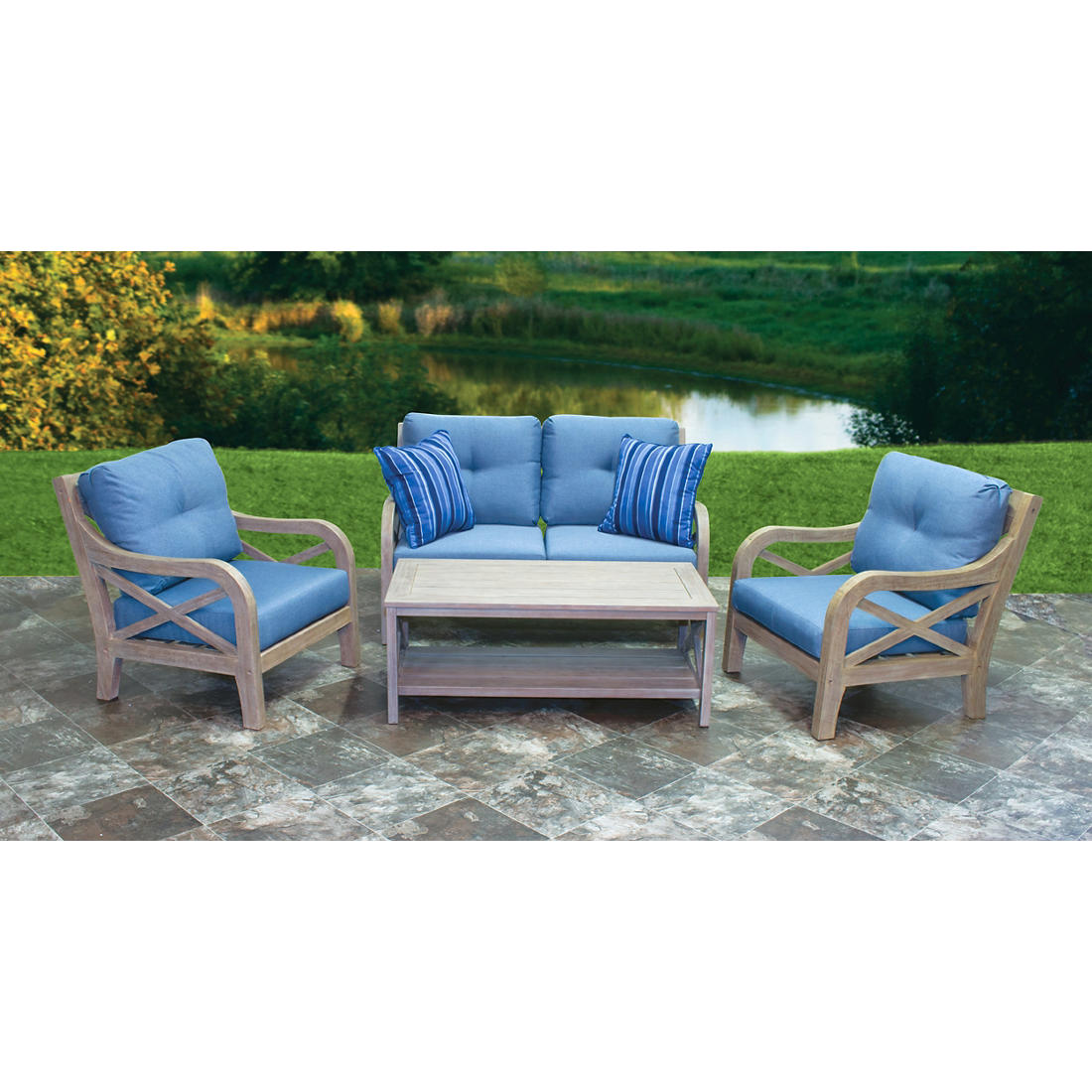 Enjoyable Berkley Jensen Villa 4 Pc Deep Seating Set Theyellowbook Wood Chair Design Ideas Theyellowbookinfo