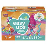 Pampers Easy Ups Training Underwear for Girls, Size 3T-4T, 132 ct.