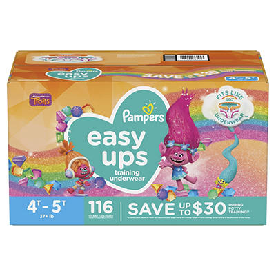 Pampers Easy Ups Training Underwear for Girls, Size 4T-5T, 116 ct.