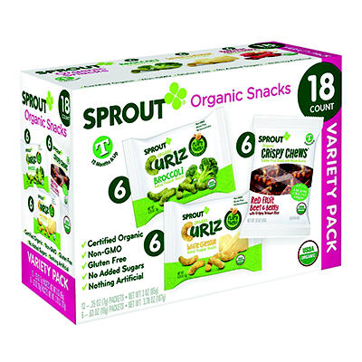 Sprout Organic Snacks Variety Pack for Toddlers, 18 ct./0.25 oz.