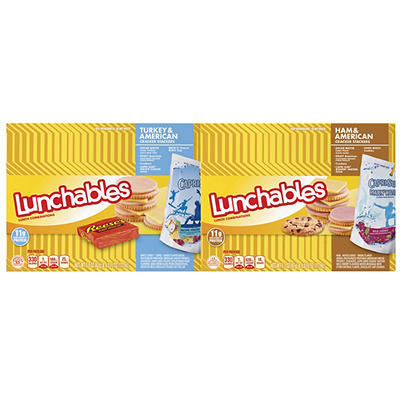 Oscar Mayer Lunchables Turkey & American and Ham & American Cracker Stackers, 4 pk./3.5-4.2 oz.