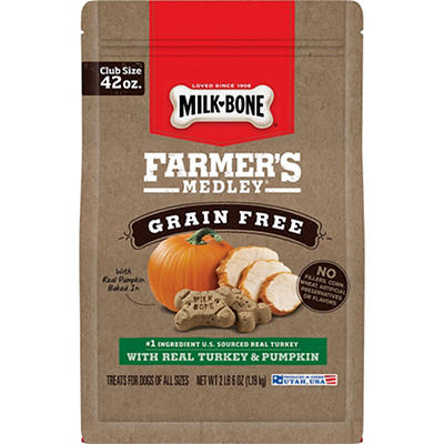 Milk-Bone Farmer's Medley Grain Free With Turkey & Pumpkin Dog Treats,