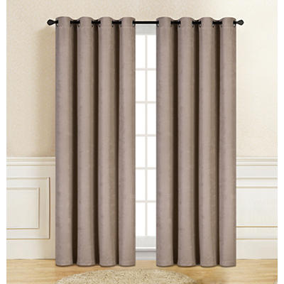 "Gianna Jacquard 84"" Window Panel Pair with Grommets - Taupe"